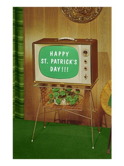 Happy St. Patrick's Day, Green Screen TV--Art Print