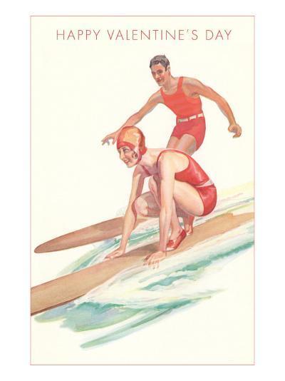 Happy Valentine's Day, Surfing Couple--Art Print