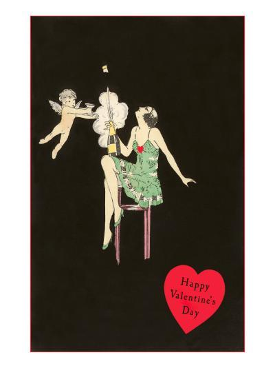 Happy Valentines Day, Flapper Popping Champagne Bottle--Art Print