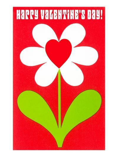 Happy Valentines Day, Simple Flower with Heart--Art Print