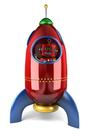 Happy Vintage Toy Robot Waving from inside a Toy Rocket over White Background-badboo-Art Print