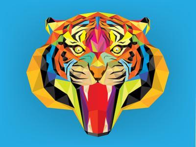 Tiger Head with Geometric Style by happysunstock