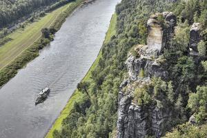 Germany, Saxony, Rathen, Elbe River, Rock, Ship, View from the Bastei, Elbe Valley by Harald Schšn