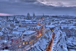 Germany, Thuringia, Erfurt, Cityscape, Winter by Harald Schšn