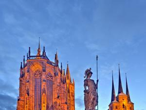 Germany, Thuringia, Erfurt, Domplatz, Severichurch, St. Mary's Cathedral, Monument, Lighting, Dusk by Harald Schšn
