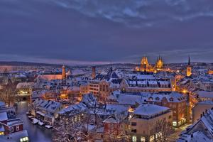 Germany, Thuringia, Erfurt, Town View, Winter by Harald Schšn