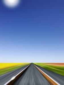 Train Race Towards a Green Light on the Horizon, Blue Sky, Perspective of the Engineer by Harald Schšn