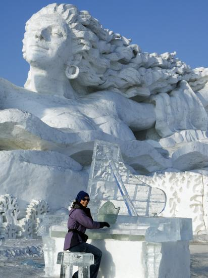 Harbin City, A Tourist Is Playing a Sculpted Ice Piano, Snow and Ice Festival, China-Christian Kober-Photographic Print