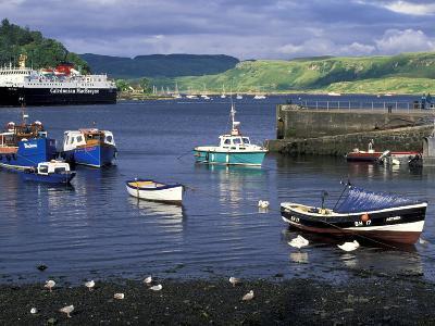 Harbor and Caledonian-Macbrayne Ferry, Oban, Scotland-Bill Sutton-Photographic Print