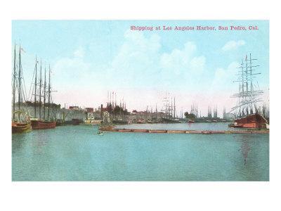 Harbor at San Pedro, California--Framed Art Print