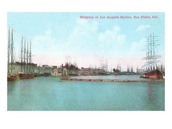 Harbor at San Pedro, California--Art Print