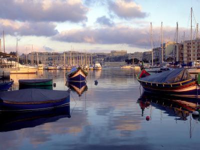 Harbor Port Scene with Boats, Valletta, Malta-Robin Hill-Photographic Print