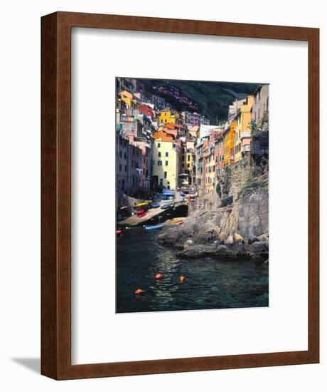 Harbor View of Hillside Town of Riomaggiore, Cinque Terre, Italy-Julie Eggers-Framed Photographic Print