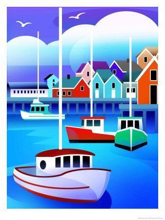 Harbor with Fishing Boats--Art Print