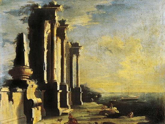 Harbor with Ruins-Leonardo Coccorante-Giclee Print
