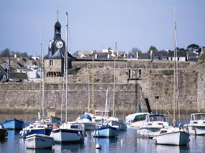 Harbour and Old Walled Town, Concarneau, Finistere, Brittany, France-David Hughes-Photographic Print