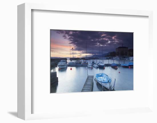Harbour at Sunset, Neuchatel, Switzerland, Europe-Ian Trower-Framed Photographic Print