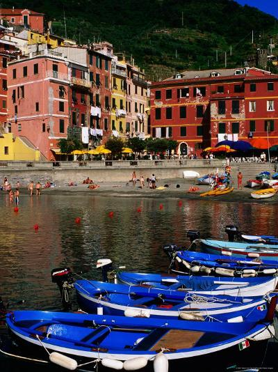 Harbour Boats on Ligurian Sea and Waterfront Buildings, Vernazza, Liguria, Italy-Glenn Van Der Knijff-Photographic Print