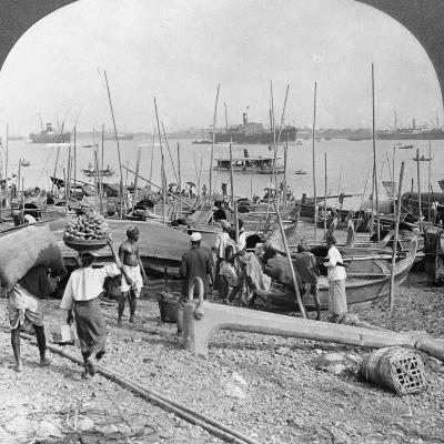 Harbour of Rangoon on the Irawaddy River, Burma, 1908--Photographic Print