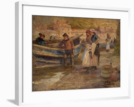 Harbour Scene with Fishermen-Robert Jobling-Framed Giclee Print