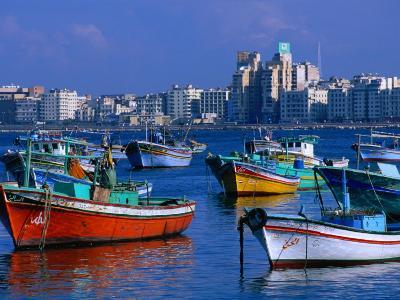 Harbour View with Fishing Boats, Alexandria, Egypt-John Elk III-Photographic Print