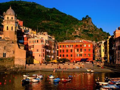 Harbour with Fishing Boats, Vernazza, Cinque Terre, Liguria, Italy-John Elk III-Photographic Print