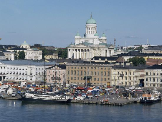 Harbour with Lutheran Cathedral Rising Behind, Helsinki, Finland, Scandinavia-Ken Gillham-Photographic Print