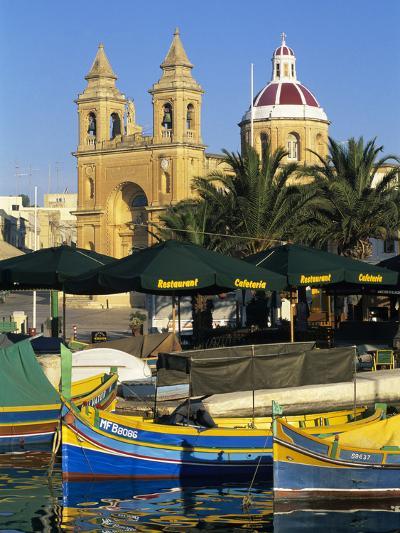 Harbour with Luzzu Fishing Boats and Marsaxlokk Parish Church, Marsaxlokk, Malta, Mediterranean, Eu-Stuart Black-Photographic Print