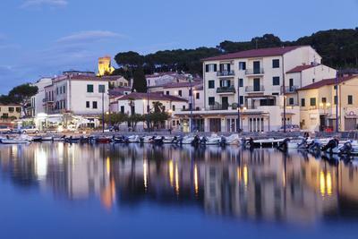 Harbour with Torre Della Marina, Marina Di Campo, Island of Elba, Livorno Province, Tuscany, Italy-Markus Lange-Photographic Print