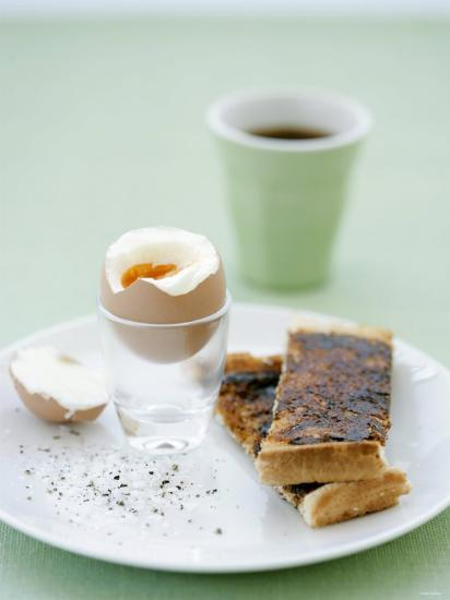 Hard-Boiled Breakfast Egg and Toast with Vegemite-Tanya Zouev-Photographic Print