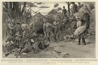 Hard-Won Booty in Rhodesia, Carrying Off the Spoils of War after Taking a Kopje Kraal-Charles Edwin Fripp-Giclee Print
