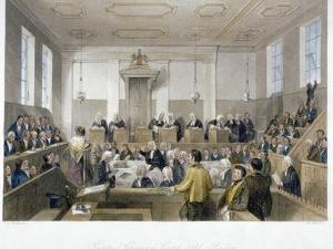 Inside the Central Criminal Court, Old Bailey, with a Court in Session, City of London, 1840 by Harden Sidney Melville