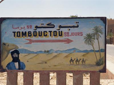Famous Sign for Tombouctou, Zagora, Morocco, North Africa, Africa by Harding Robert