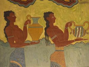 Fresco Detail, Knossos, Crete, Greece, Europe by Harding Robert