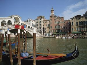 Gondola in Front of the Rialto Bridge on the Grand Canal in Venice, Veneto, Italy by Harding Robert