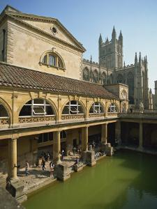 Roman Baths with the Abbey Behind, Bath, UNESCO World Heritage Site, Avon, England, UK by Harding Robert