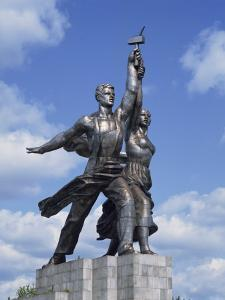 Statue of Worker and Kolkhoz Woman Near the Cosmos Hotel and Vdnkh in Moscow, Russia, Europe by Harding Robert