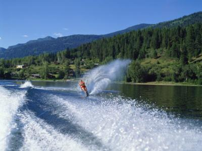 Waterskiing on Adams Lake, British Columbia, Canada, North America by Harding Robert