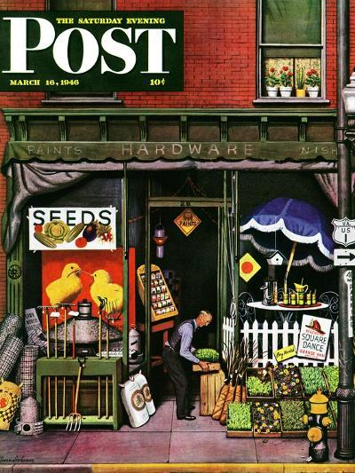 """""""Hardware Store at Springtime,"""" Saturday Evening Post Cover, March 16, 1946-Stevan Dohanos-Giclee Print"""