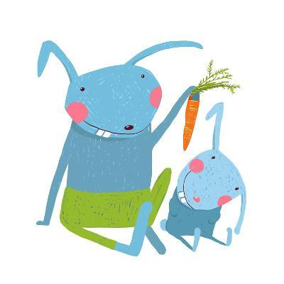Hare and Leveret Eating Carrot . Animal Parent Bunny with Kid, Vegetarian Vegetable Eating, Vector-Popmarleo-Art Print