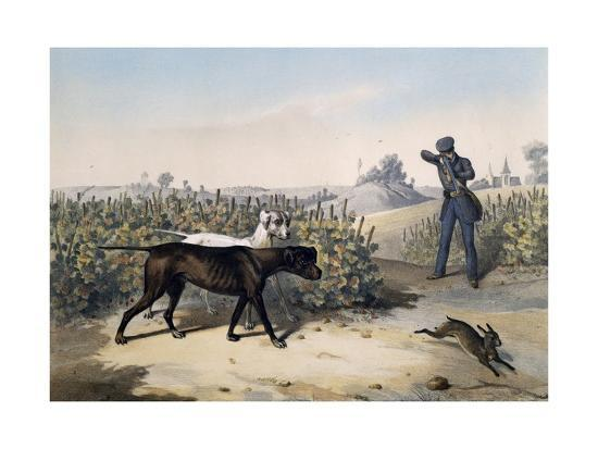 Hare Hunting with English Pointers and Lithograph by Le Pan--Giclee Print
