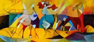 Alternative Reproductions of Famous Paintings by Picasso. Applied Abstract Style of Kandinsky. Desi by Hare Krishna