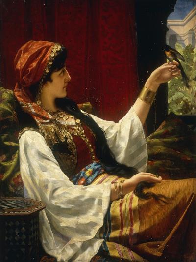 Harem Beauty holding a Bird-Jan Portielje-Giclee Print