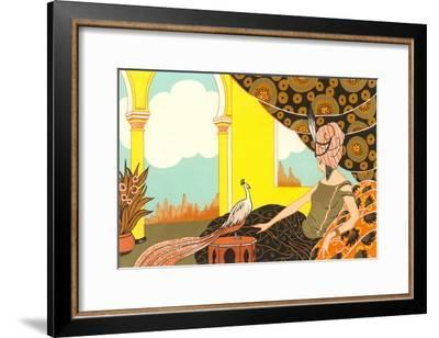 Harem Lady with Peacock--Framed Art Print