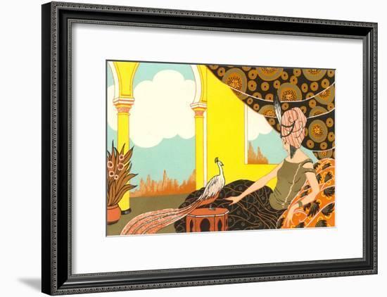 Harem Lady with Peacock--Framed Art Print