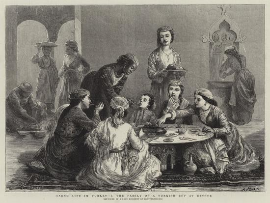 Harem Life in Turkey, I, the Family of a Turkish Bey at Dinner--Giclee Print