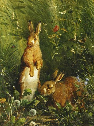 Hares, 1878-Olaf August Hermansen-Giclee Print