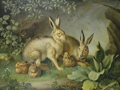Hares and Leverets in a Rocky Lair-Johann Wenzel Peter-Giclee Print
