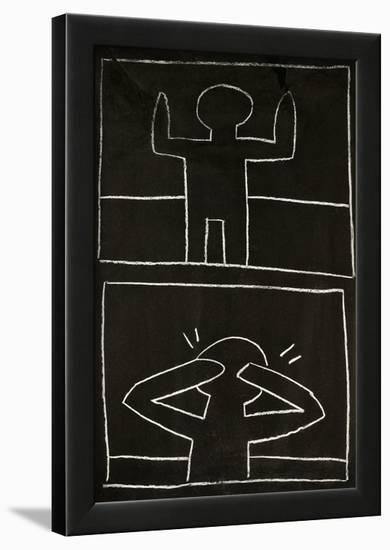 Haring - Subway Drawing Untitled - 20-Keith Haring-Framed Art Print