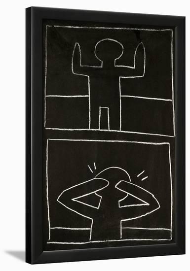 Haring - Subway Drawing Untitled - 20-Keith Haring-Framed Giclee Print